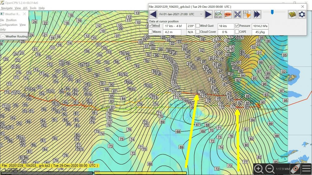 Projection Friday MSLP and wind 291220.jpg